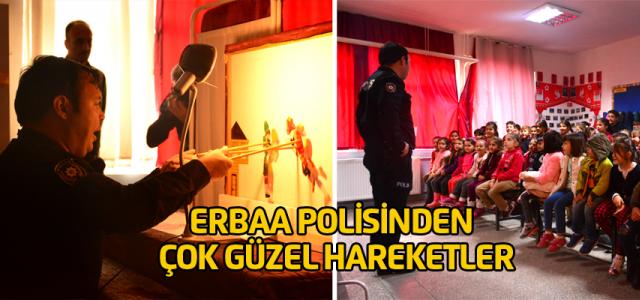 Erbaa Polisinden Çocuklara 'Hacivat-Karagöz' ile trafik ve güvenlik eğitimi