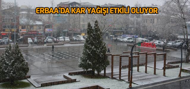 Erbaa'da kar yağışı