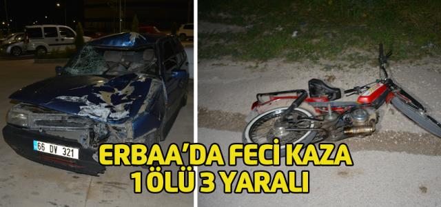 Erbaa'da Otomobil, motosiklete çarptı: 1 ölü, 3 yaralı