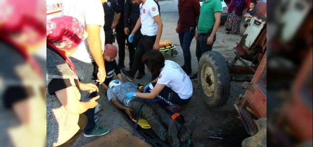 Erbaa'da tamir etmek istediği traktörün altında kaldı