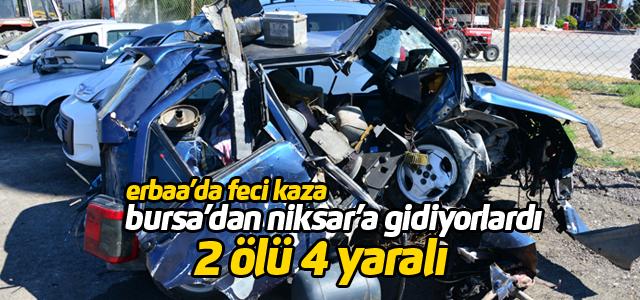 Otomobil menfeze çarpıp takla attı: 2 ölü, 4 yaralı