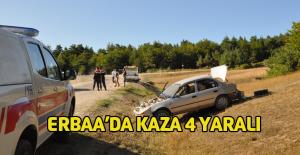 Erbaa'da otomobil takla attı 1'i çocuk 4 yaralı