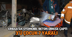 Otomobil beton elektrik direğine çarptı: 7 yaralı