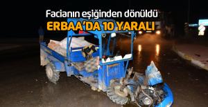 Erbaa'da otomobille patpat çarpıştı: 10 yaralı