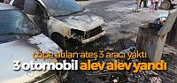 Çöp Konteynerleriinde Çıkan Yangın, Park Halindeki 3 Aracı Yaktı