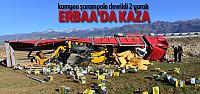 Erbaa'da Kamyon Şarampole Devrildi: 2 Yaralı