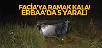 Erbaa'da otomobil Trafik Tabelasına Çarptı: 5 Yaralı