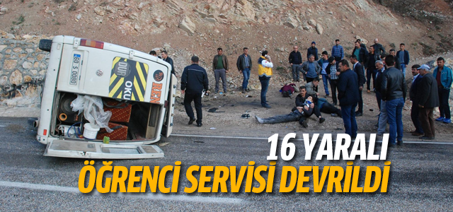Tokat'ta öğrenci servisi devrildi: 16 yaralı