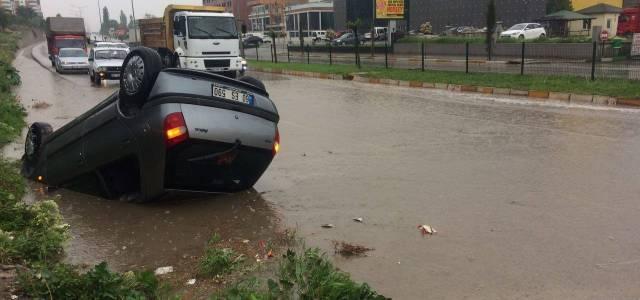 Tokat'ta otomobil takla attı: 1 yaralı