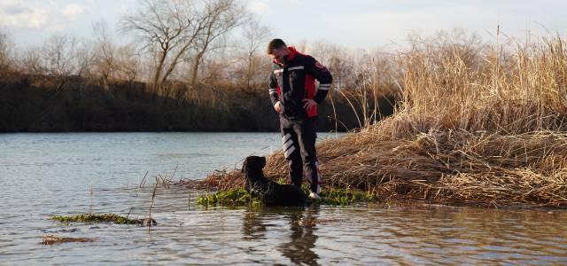 Çayda mahsur kalan köpeği itfaiyeciler botla kurtardı