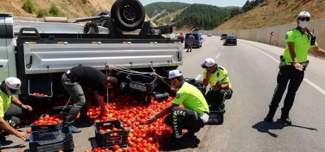 Erbaa'daki kazada yola saçılan domatesleri polis topladı
