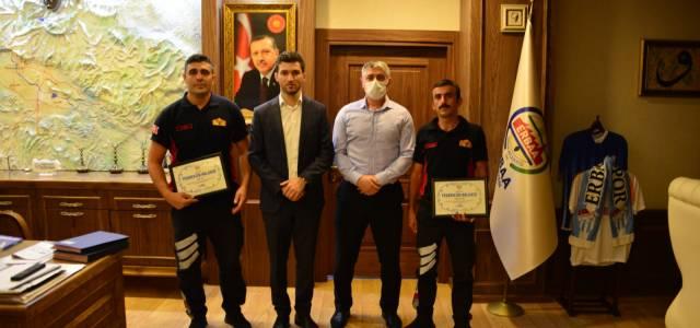 Manavgat'tan dönen Erbaalı itfaiyecilere teşekkür belgesi