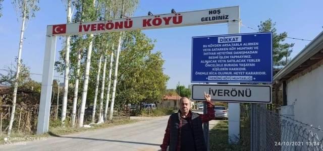 İverönü köyüne asılan tabela için kaldırılma kararı