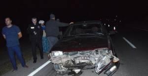 Niksar'da otomobil koyunlara çarptı