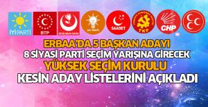 Erbaa'da 31 Mart Mahalli İdareler Seçimlerine katılacak adayların YSK tarafından açıklanan kesin aday listeleri
