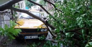 Tokat'ta şiddetli fırtına çatıları uçurdu