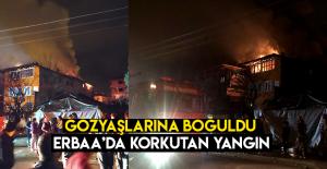 Erbaa'da gece yarısı korkutan yangın