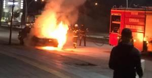 Erbaa'da otomobil alev alev yandı