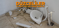 Düzcespor taraftarı tuvaletlere zarar verdi