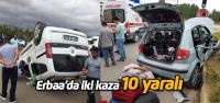 Erbaa'daki iki ayrı kazada 10 kişi yaralandı