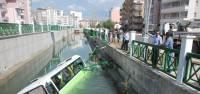 Halk minibüsü sulama kanalına uçtu